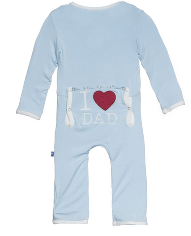 Kickee Pants I Love Dad Applique Coverall