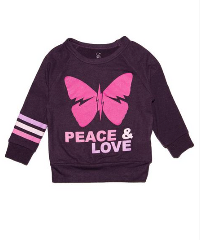 Lauren Moshi Peace Love Butterfly Sweatshirt