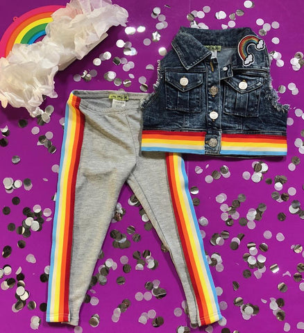 Little Mass - Rainbow Denium Cropped Vest & Rainbow Stripe Leggings