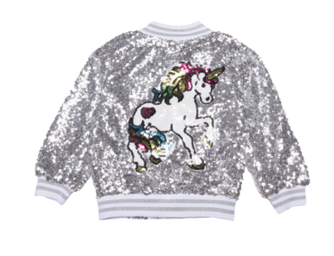 Lola and The Boys - Unicorn Sequin Bomber Jacket