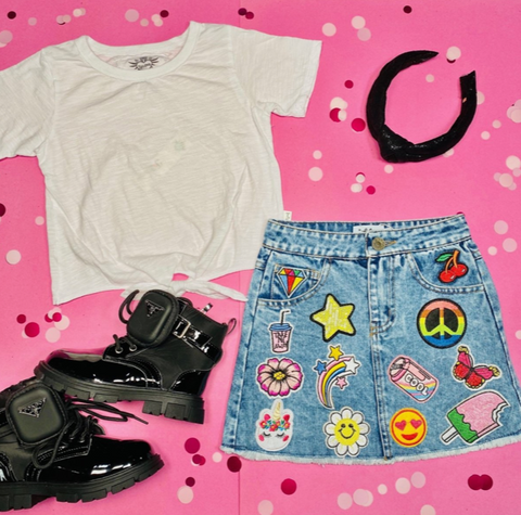 Lola & the Boys All About The Patches Denim Skirt