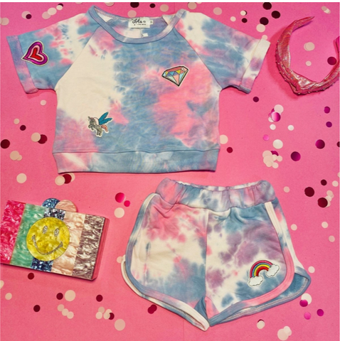 Lola & the Boys Tie Dye Patches Tshirt and Shorts Set