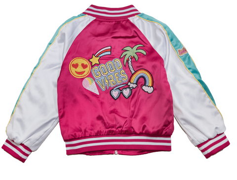 Lola and The Boys Good Vibes Satin Varsity Patch Bomber