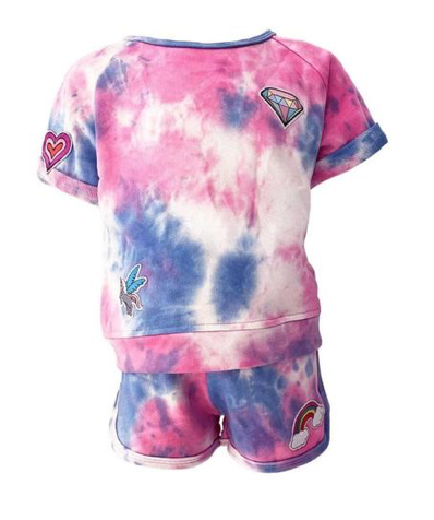 Lola and The Boys Tie Dye Patches Tshirt and Shorts Set