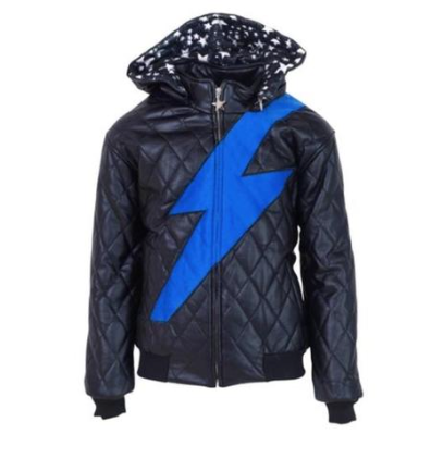 Lola and the Boys Lightning Vegan Leather Bomber Jacket