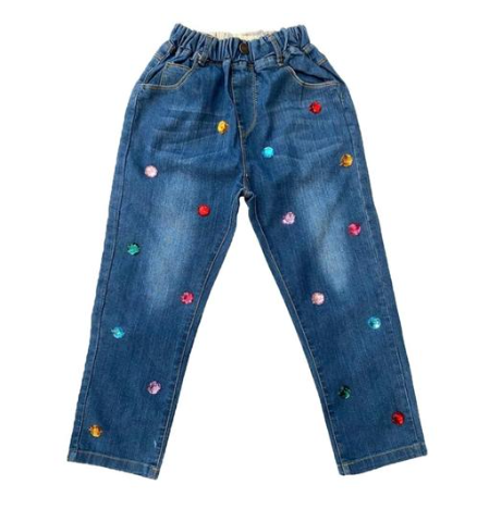 Lola and the Boys Rainbow Rhinestone Denim Pants