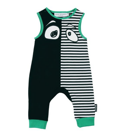 Loud Apparel Enjoy Monster Eyes Striped Romper