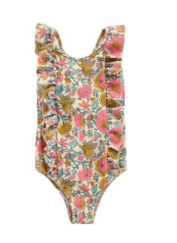 Louise Misha - Floral Open Back Ruffle One Piece Swimsuit
