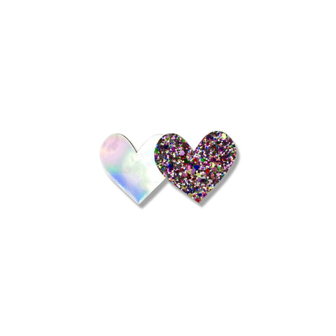 Milk & Soda - Holographic Double Heart Duck Clip