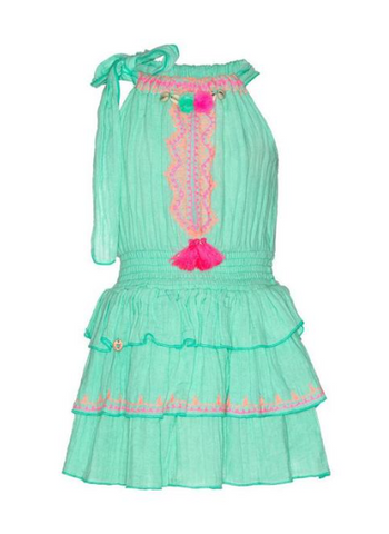 Mim-Pi Embroidered Halter Neck Ruffled Dress