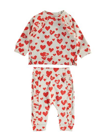 Molo All Around Hearts Sweatshirt and Sweatpants Set