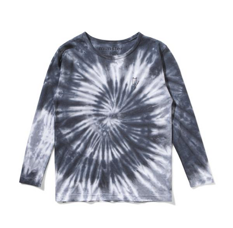 Munster Kids Bolt Tie Dye Long Sleeve Tshirt in Blue