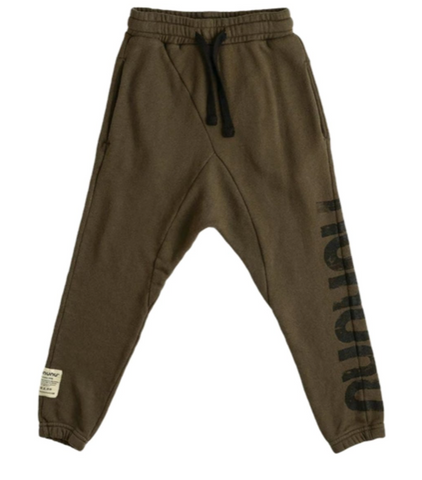 """Nununu Raw Sweatpants - These dark army green bottoms are styled with the word """"Nununu"""" in black on one leg for signature branding and comes with an elastic waistband and drawstring tie."""