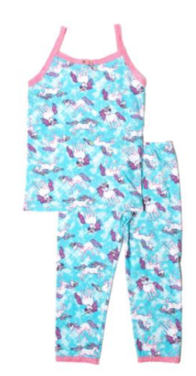 esme two piece unicorn camisole and leggings pjs