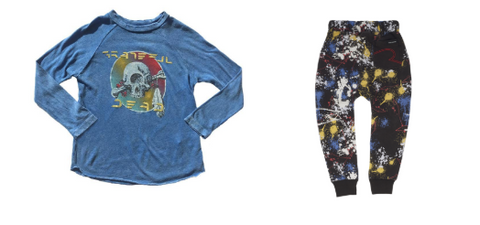 Rowdy Sprout - Distressed Grateful Dead Long Sleeve Top & Rock Your Baby - Paint splash Sweatpants