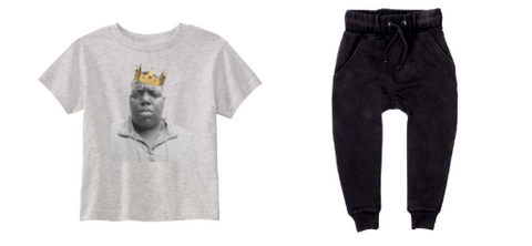 Disco Panda - Biggie Reigns Tshirt & Rock Your Baby - Basic Acid Wash Sweatpants