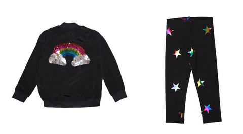 Flowers By Zoe - Rainbow Sequin Jacket & Flowers By Zoe - Holographic Star Leggings