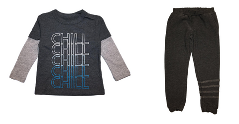 Chaser - Chill Twofer Long Sleeve Tshirt & Chaser - Soft & Cozy Sweatpants with Ankle Stripes