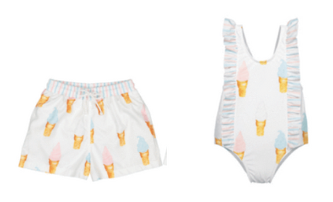 Ice Cream Swim Trunks & Ice Cream Bow One Piece Swimsuit (Preorder)