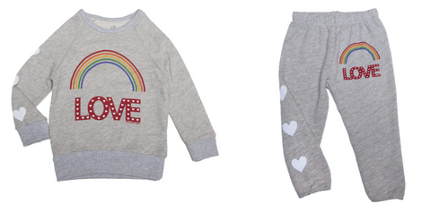 Lauren Moshi - Rainbow Love Sweatshirt & Lauren Moshi - Rainbow Love Sweatpants