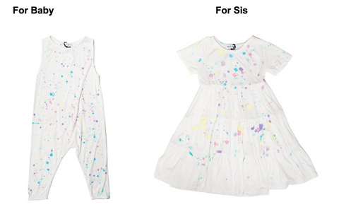 Little Moon Society Rainbow Paint Splash Romper & Little Moon Society Ryan Ruffle Rainbow Splash Dress