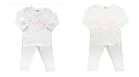 Oh Baby! Glittery Long Sleeve Tshirt and Leggings & Star Metallic Lil Sis Long Sleeve Tshirt and Leggings