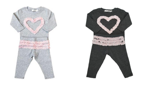 Oh Baby! Ruffle Heart Long Sleeve Top and Leggings Set (Light Gray)  & Oh Baby! Ruffle Heart Long Sleeve Top and Leggings Set (Dark Gray)