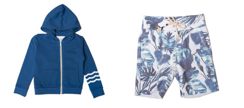 Sol Angeles Kids Waves Zip Up Hoodie in Dark Blue & Sol Angeles Kids Palm Leaves Shorts