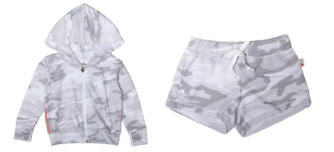 T2Love Camo Zip Up Hoodie W/ Rainbow Stripe and Camo Shorts