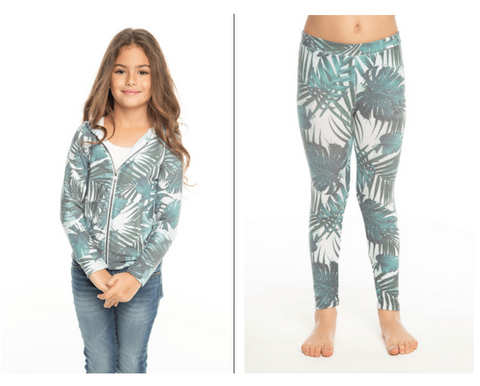 Chaser Banana Leaf Cozy & Soft Zip Up Hoodie & Chaser Banana Leaf Cozy & Soft Leggings