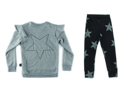 Nununu Star Leggings & Nununu Embroidered Star Ruffle Sweatshirt (Preorder)