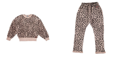 Tocoto Vintage Leopard Knitted Sweatshirt and Sweatpants