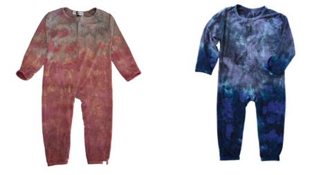 Little Moon Society Pink Tie Dye Romper & Little Moon Society Blue Tie Dye Romper