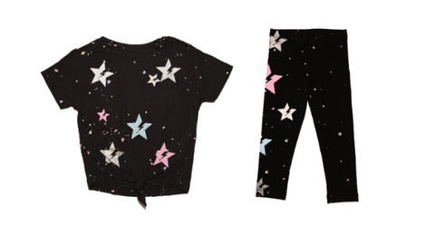 Flowers By Zoe Paint Splatter Stars Knotted Tshirt & Flowers By Zoe Paint Splatter Stars Leggings