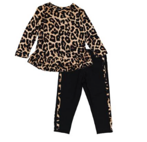Flowers by Zoe Leopard Ruffle Long Sleeve Top and Leggings Set