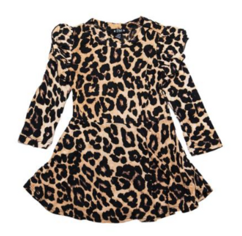 Flowers by Zoe Leopard Ruffle Sleeve Dress