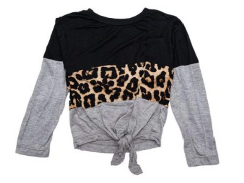 Flowers by Zoe Leopard Knotted Long Sleeve Top
