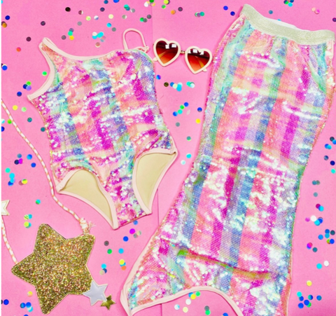 Shade Critters Pastel Stripe Sequin Mermaid Tail
