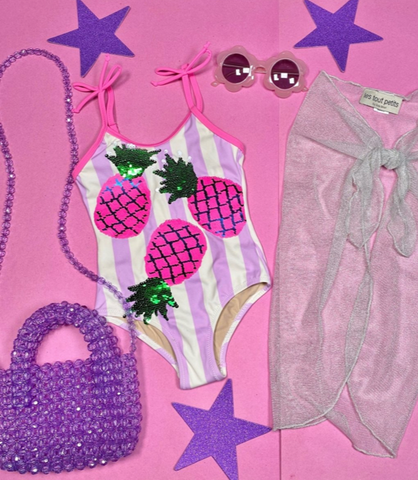 Shade Critters Pineapple Flip Sequin One Piece Swimsuit