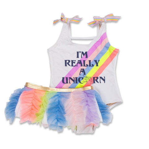 Shade Critters - Rainbow Unicorn One Piece W/ Removable Tutu Skirt