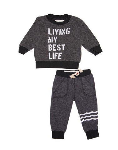 Sol Angeles Kids Living My Best Life Sweatshirt and Sweatpants Set
