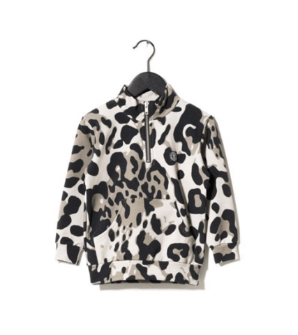 Sometime Soon Street Wear Leopard Half Zip Up Hoodie