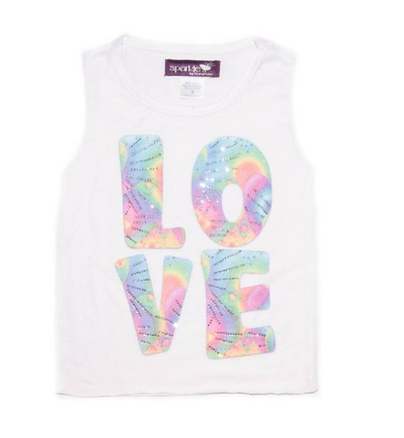 Sparkle By Stoopher Tie Dye Love W/ Crystals Tank Top
