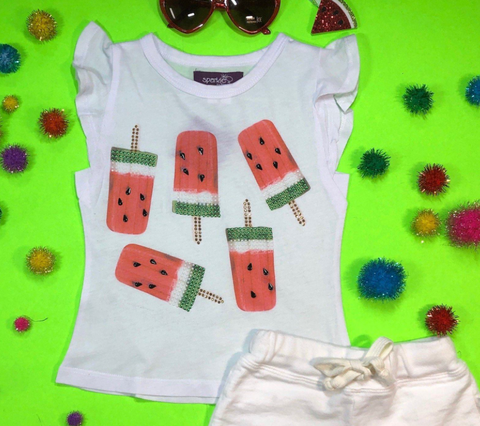 Sparkle By Stoopher Watermelon Popsicle Rufke Sleeve Tank Top