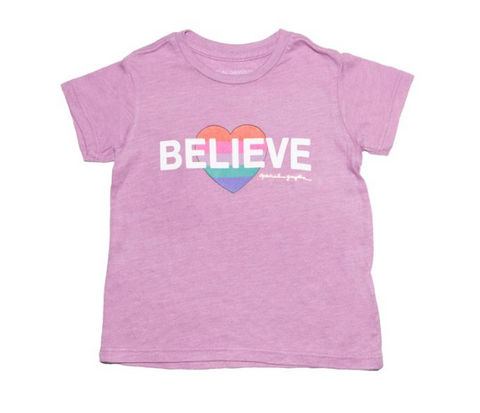 Spiritual Gangster Kids Rainbow Heart Believe Tshirt
