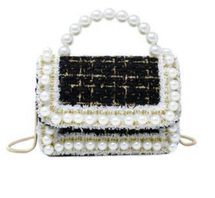 Tiny Treats Pearl Tweed Handle Bag W/ Chain