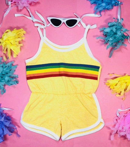 Tiny Whales Sunshine Rainbow Stripe Romper