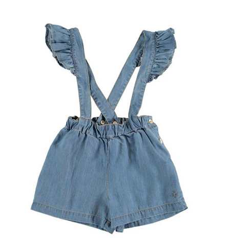 Tocoto Vintage Denim Shorts with Suspenders