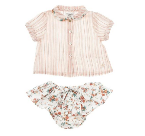 Tocoto Vintage Stripe Button Down Top with Floral Bloomers Set