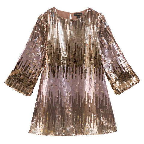 Velveteen - Ombre Sequin Long Sleeve Dress